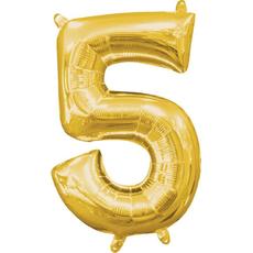 """Balon napihljiv, """"5"""", zlati, 40cm + palčka za napihnit"""