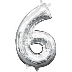 "Balon napihljiv, ""6"", srebrni, 40cm + palčka za napihnit"