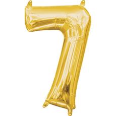 """Balon napihljiv, """"7"""", zlati, 40cm + palčka za napihnit"""