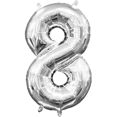 "Balon napihljiv, ""8"", srebrni, 40cm + palčka za napihnit"