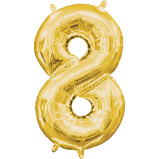 """Balon napihljiv, """"8"""", zlati, 40cm + palčka za napihnit"""