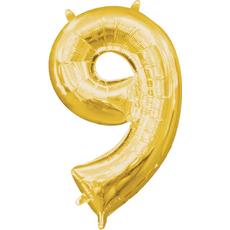"""Balon napihljiv, """"9"""", zlati, 40cm + palčka za napihnit"""