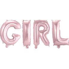 Balon napihljiv, napis GIRL, 4x 36cm + vrvica ter palčka za napihnit