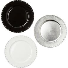 Krožnik dekorativen s kamenčki, 33 cm, črn in bel