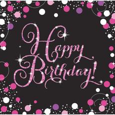 """Serviete iz papirja, """"Happy Birthday"""", roza pikice, 16/1, 33x33cm"""