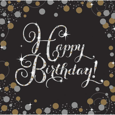 "Serviete iz papirja, ""Happy Birthday"", zlate pikice, 16/1, 33x33cm"