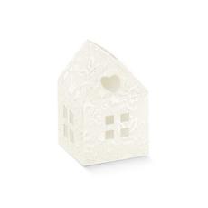 """Darilna škatla kartonska, """"CASETTA"""" hiška bela, 55x55x80mm"""