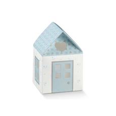"""Darilna škatla kartonska, """"CASETTA"""" hiška modra, 55x55x80mm"""