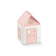 "Darilna škatla kartonska, ""CASETTA"" hiška roza, 55x55x80mm"