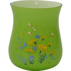 Vaza steklena, zelena, spominčice, 22cm