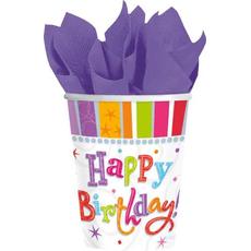 "Piknik lonček iz papirja, ""Happy Birthday"", pisan, 8/1, 266ml"