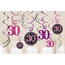 """Set spiral iz papirja, """"30"""", roza pikice, 6/1, (3x17.7cm, 3x 12.7cm)"""