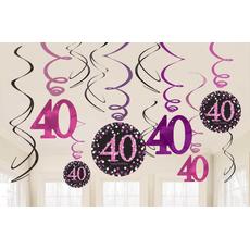 """Set spiral iz papirja, """"40"""", roza pikice, 6/1, (3x17.7cm, 3x 12.7cm)"""