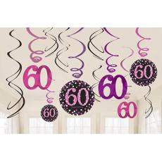 """Set spiral iz papirja, """"60"""", roza pikice, 6/1, (3x17.7cm, 3x 12.7cm)"""