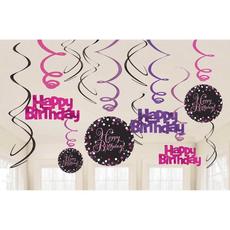 """Set spiral iz papirja, """"Happy Birthday"""", roza pikice, 6/1, (3x17.7cm, 3x 14.7cm)"""