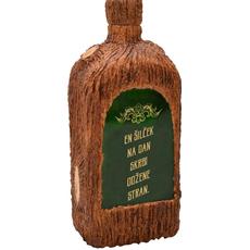 Steklenica za žganje, dekorirana, En šilček na dan,..., 10x20x7cm