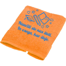 """Brisača """"Naučili ste nas šteti,.."""", knjiga, oranžna 100x5Ocm 100% bombaž"""