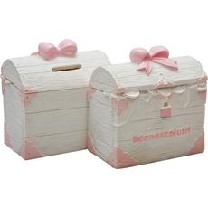 """{[sl]:Hranilnik skrinja z zakladom s pentljo """"danes za jutri"""", polymasa, roza, 10,5x6,5x11,"""
