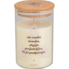 """{[sl]:Sveča dišeča v steklenem kozarcu z bambusovim pokrovom, """"Za vsako žensko stoji"""