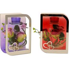 Svečnik za čajne svečke steklen z rdečimi/lila vrtnicami, 20,5cm sort
