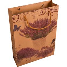 Darilna vrečka, šopek sivke v lončku na rjavem ozadju, 31x42 cm,