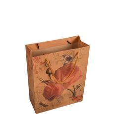 Darilna vrečka, vrtnica na rjavem ozadju, 19x24 cm,
