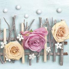 Papirnate serviete, cvetovi vrtnic v pastelnih barvah, 33x33cm, 20kos.