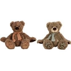 Plišasta igrača, medvedek sedeč s šalom in prišitim karirastim srcem 23 cm sort