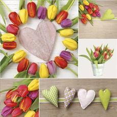 Papirnate serviete, tulipani s srci, 33x33cm, 20kom