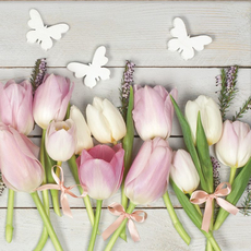 Papirnate serviete, tulipani z metulji, roza, 33x33cm, 20kom