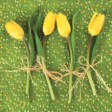 Papirnate serviete zelene, tulipani, 33x33cm, 20kom