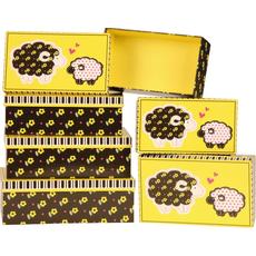 {[sl]:Darilna škatla črna z rožami karton 6 delni set, velikost največje 18,5x29
