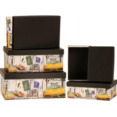 {[sl]:Darilna škatla črna znamke avtomobiliv karton 5 delni set, veliko