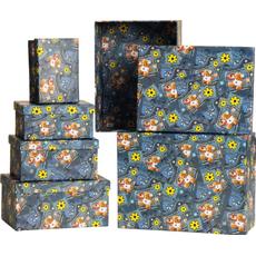 Darilna škatla jeans motiv karton 6 delni set, velikost največje 23x31x14cm