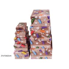 Darilna škatla kartonska gumbi in sukanci 21x15x8,5cm