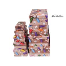 Darilna škatla kartonska gumbi in sukanci 23x16,5x9,5cm
