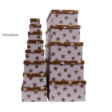 Darilna škatla kartonska srebrne zvezde na beli podlagi 17x11x6,5cm