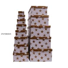 Darilna škatla kartonska srebrne zvezde na beli podlagi 21x15x8,5cm