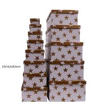 Darilna škatla kartonska srebrne zvezde na beli podlagi 23x16,5x9,5cm