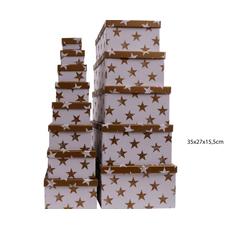 Darilna škatla kartonska srebrne zvezde na beli podlagi 35x27x15,5cm