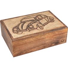 Škatla lesena, velika z izrezljanim avtom, 17x25x9cm