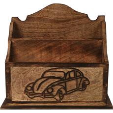 Držalo za gospodinjske pripomočke, dva prekata, izrezljan avto, 22x 9x 21,5 cm
