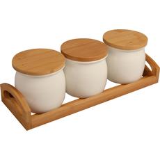 Podstavek lesen s keramičnimi posodicami za začimbe, 3 delni set