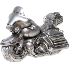 Hranilnik motor z naslonjalom srebrn, polymasa 17x12cm