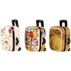 Hranilnik, potovalni kovček - motiv znamke/prometni zaki/globus 15,5cm sort