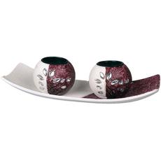 Svečnika za 2 čajni lučki na podstavku vijolično bel 25,5x9,8cm 3/1