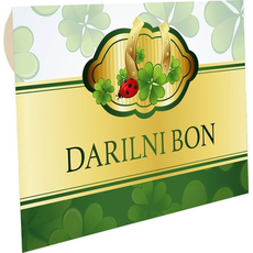 """Kuverta za darilne bone zelena """"Detelja, podkev,pikapolonica"""""""