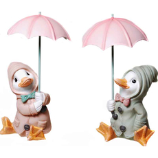 Raca v dežnem plašču sedi z dežnikom, polymasa 17cm  sort