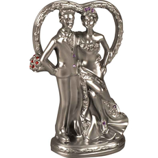 Mladoporočenca pred srcem srebrna 5x3,3x9,7cm set