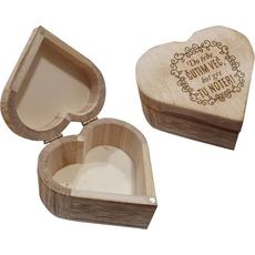 """Škatla lesena v obliki srca """"Do tebe čutim več,..."""" 8,8x4,6cm"""